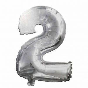 фолиев балон цифра 76,2см две сребро