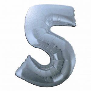 фолиев балон цифра 76,2см пет сребро