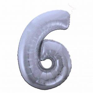 фолиев балон цифра 76,2см шест сребро