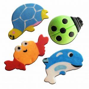 гумички животни- калинка, делфинче, костенурка, рак