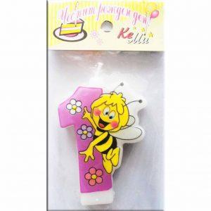 свещичка за рожден ден пчеличката мая 1 розова