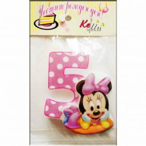 свещичка за рожден ден мини маус розова 5