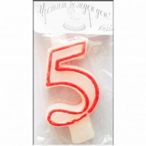 свещичка за рожден ден цифра с кант 5