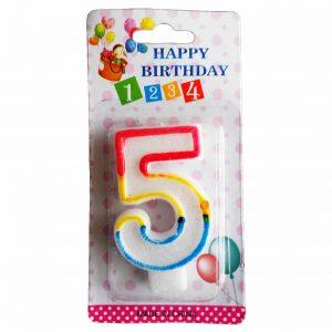 свещичка за рожден ден цифра пет