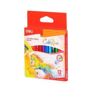 цветни моливи Deli color run 12 цвята къси