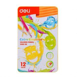 цветни моливи Deli color emotion 12 цвята метална кутия