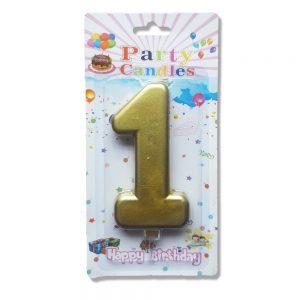 свещ цифра за рожден ден единица злато