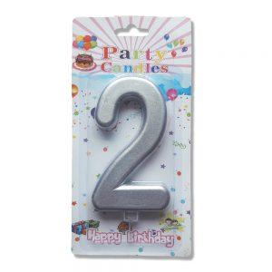 свещ цифра за рожден ден две сребро