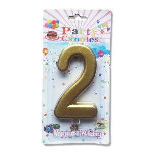 свещ цифра за рожден ден двойка злато