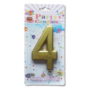 свещ цифра за рожден ден четворка злато