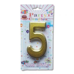свещ цифра за рожден ден петица злато