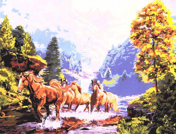 картина за рисуване по номера коне в планината