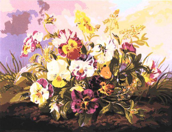 картина за рисуване по номера теменужки