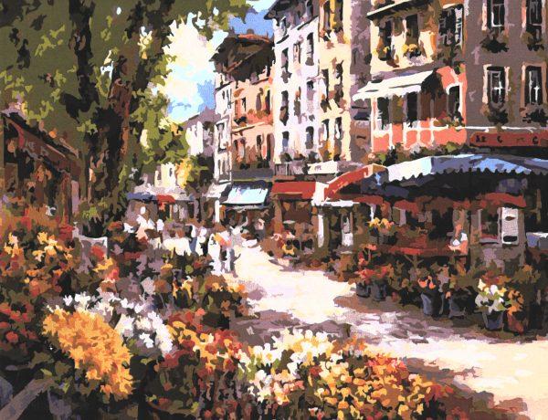 картина за рисуване по номера пазар за цветя