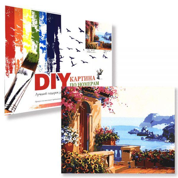 картина за рисуване по номера средиземноморска цветна къща