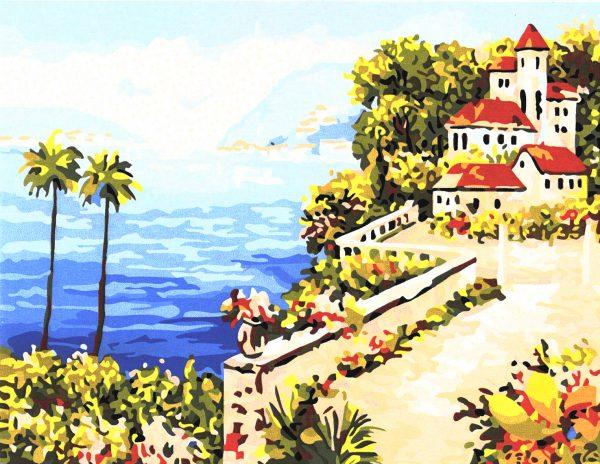картина за рисуване по номера къща на брега на океана