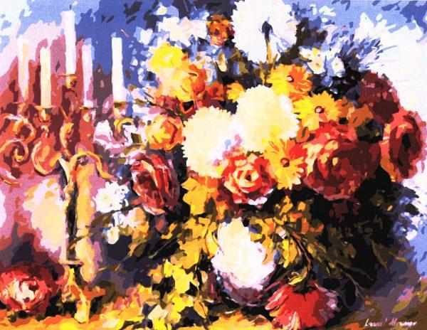 картина за рисуване по номера разкошни цветя