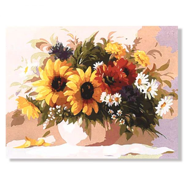 картина за рисуване по номера слънчогледи