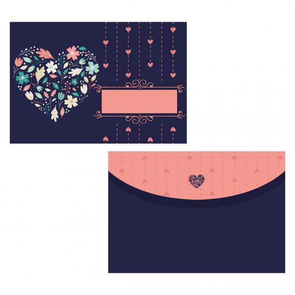 плик за покана за рожден ден флорално сърце